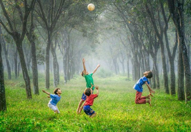 子供達が元気に野原でバレーボールをしている風景
