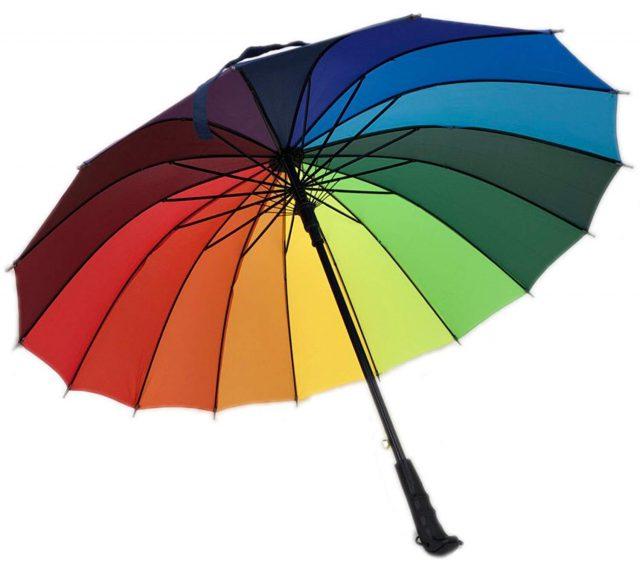 鮮やかな虹色の傘