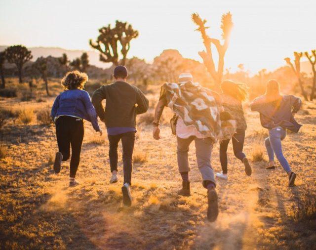 輝く太陽に向かって野原を走る人々の後ろ姿