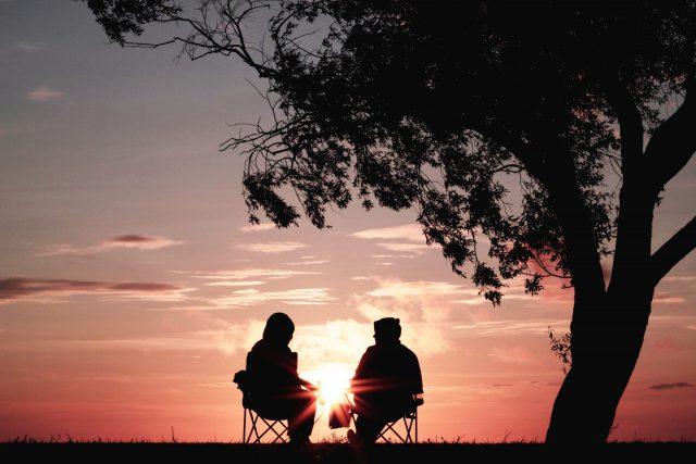 夕日を眺めながら木の横に並んで座る人の後ろ姿