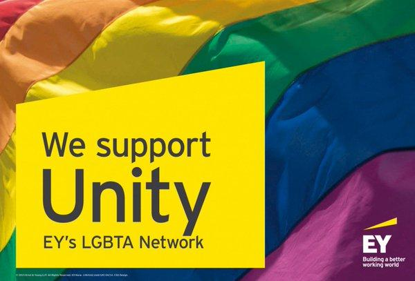We support Unity EY's LGBTA Networkと書かれたバナー