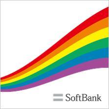 レインボーが入ったソフトバンクのロゴの画像