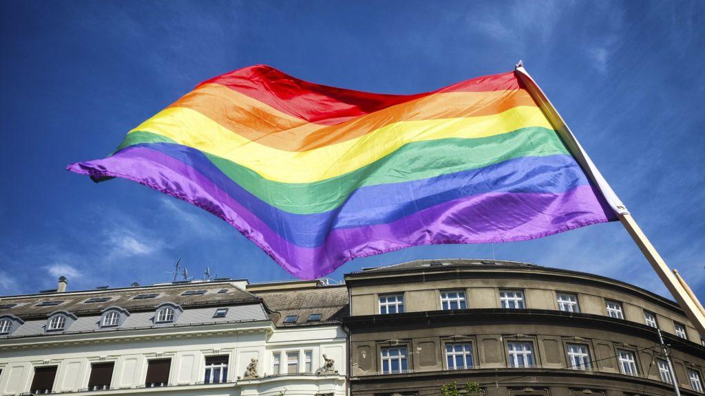 虹色の旗の画像