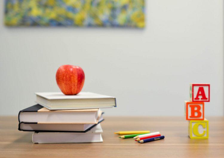 本の上に乗ったりんご